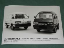 "SUBARU SUMO 1.0 2WD & 1.2 4WD MICROVANS factory issued 8x6"" press photo"